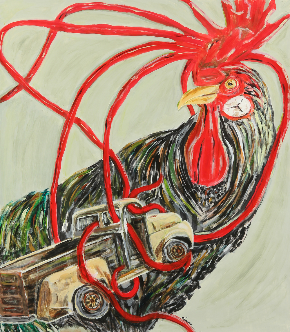 The Rooster Who Ate Petaluma  2013, 60 X 48, acrylic on paper