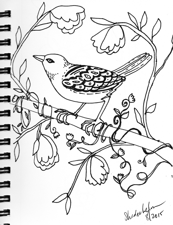 Kendra_Shedenhelm_Bird_Sketch_Drawing_Floral