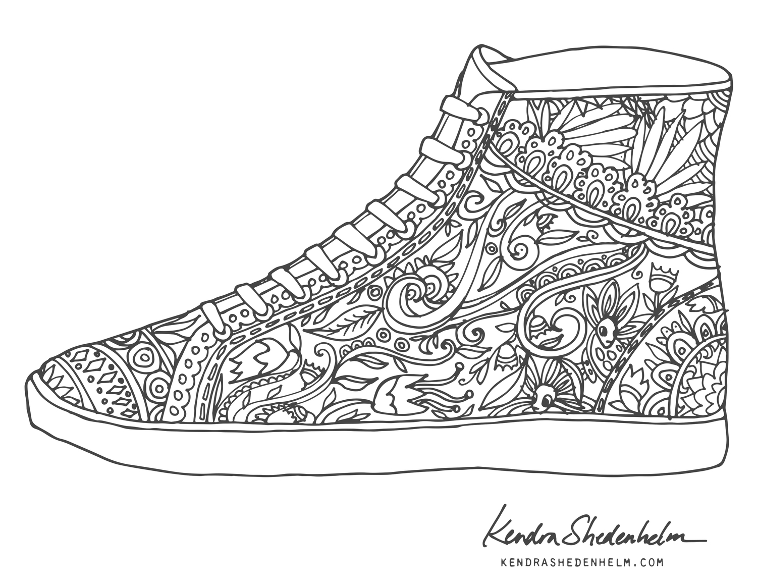 Coloring pages shoes - Kendra_shedenhelm_coloring Pages_shoe_1 Jpg
