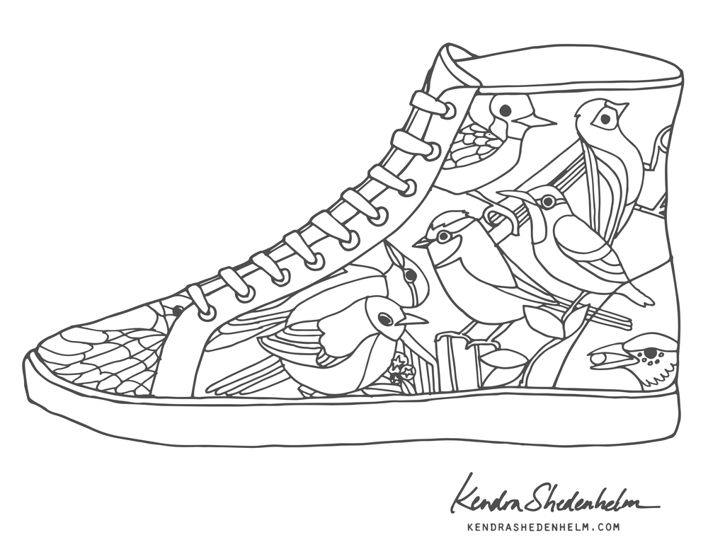 Coloring Book Shoes : Birds, doodles, shoes and FREE coloring pages! Kendra Shedenhelm
