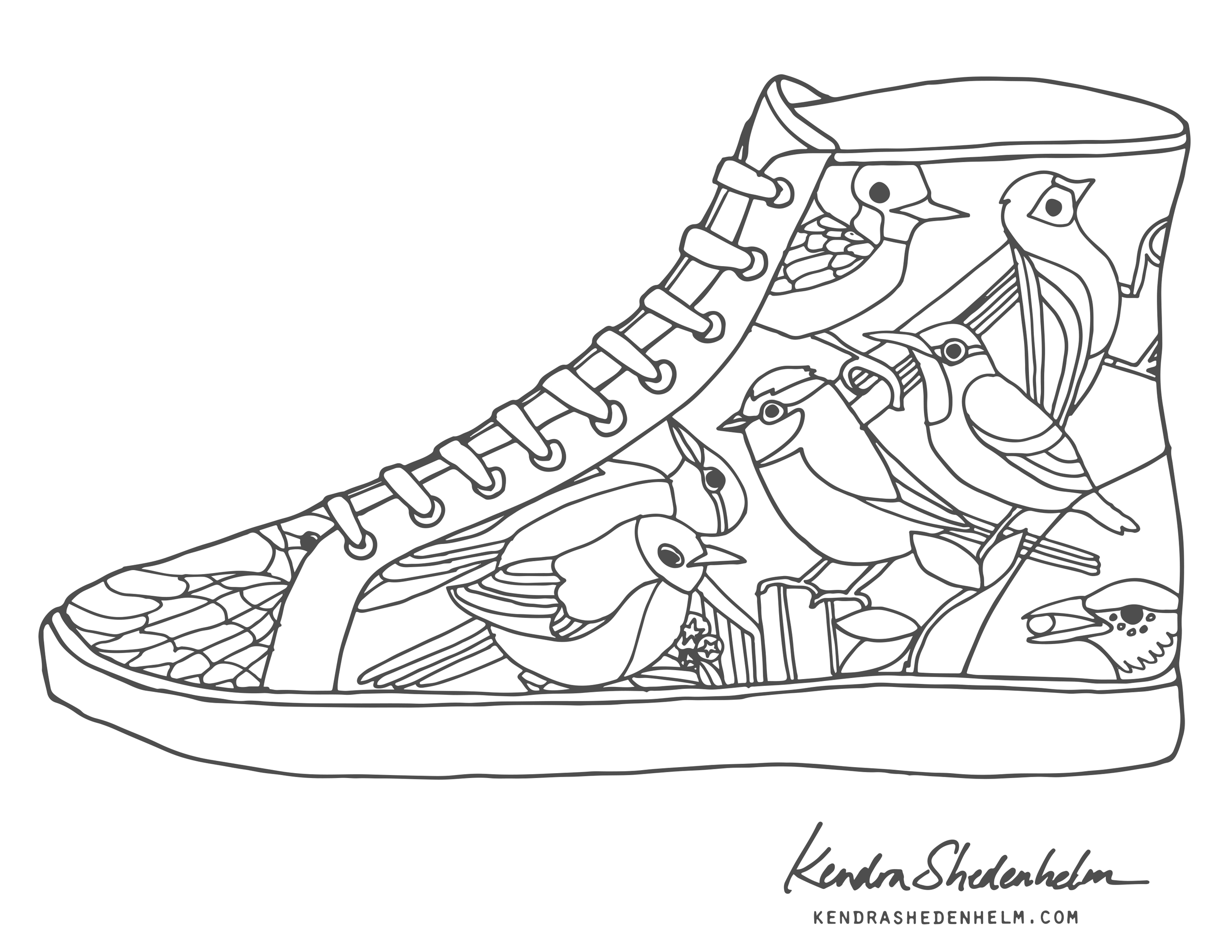 Birds Doodles Shoes And Free Coloring Pages Kendra Shedenhelm