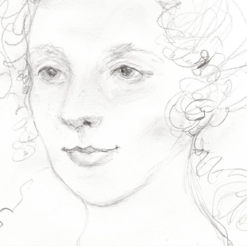 Portrait of Mary Somerville, pencil, Copyright 2017 Kendra Shedenhelm