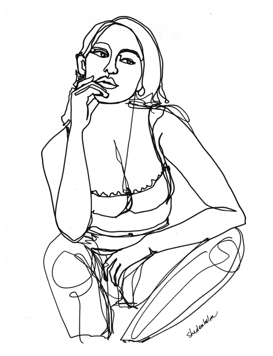 Kendra_Shedenhelm_ContinuousLineDrawing_Woman_Sitting and Thinking.jpg