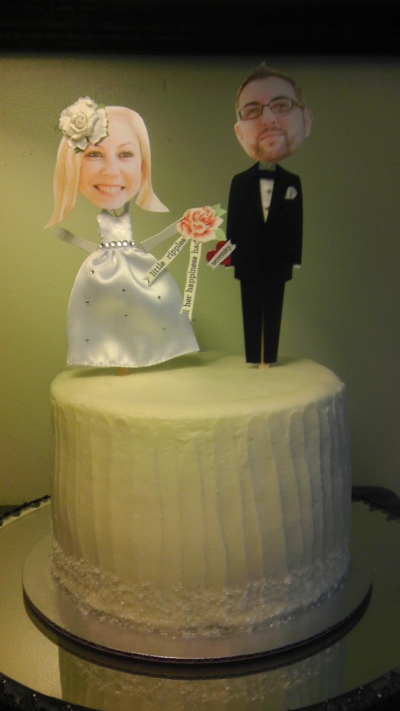 "Custom Bride & Groom Toppers on 8"" cutting cake"