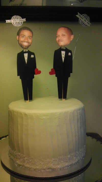 "Custom Groom & Groom toppers on 8"" cutting cake"