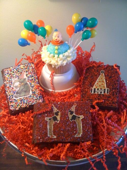 Vintage Clown with edible circus image birthday brownies