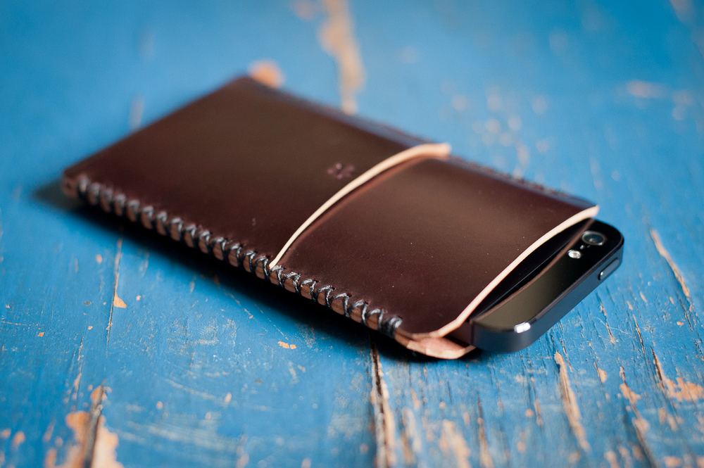 Custom iphone case in Horween shell cordovan