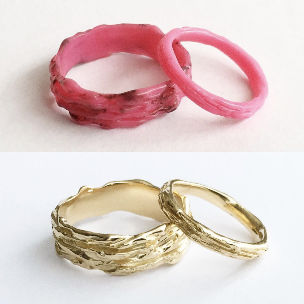 BEFORE - BANDS CARVED IN wax (TOP photo) AFTER - Bark TEXTURE WEDDING BANDS CAST in 14kt yellow gold (BOTTOM photo)