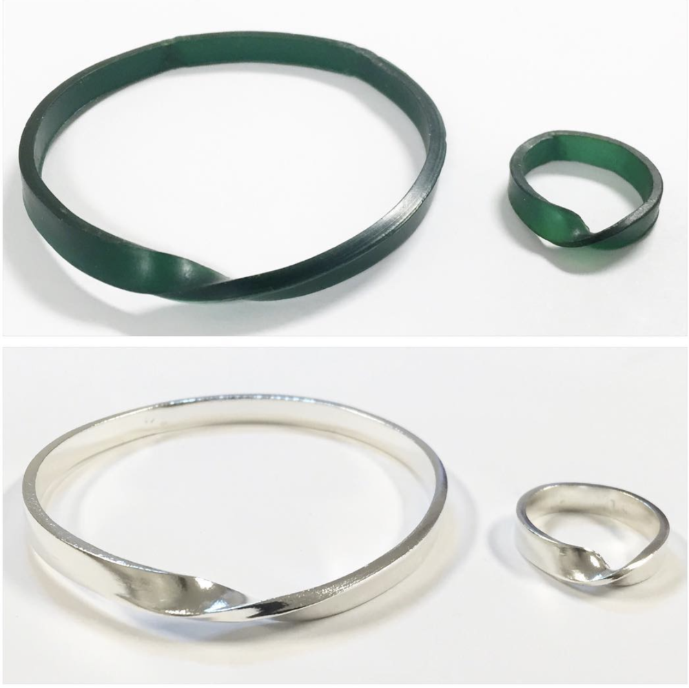 BEFORE - BANGLE + RING CARVED IN WAX (TOP PHOTO) AFTER - BANGLE + RING CAST IN STERLING SILVER (BOTTOM PHOTO)