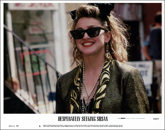 Madonna in a production still image from  Desperately Seeking Susan , 1985. Orion Pictures.