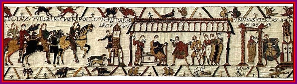 A detail from the Bayeux Tapestry showing Latin narrative