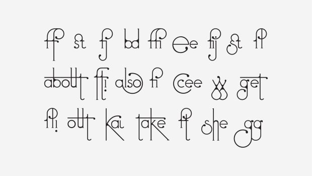 A sample of text in the Futuracha typeface showing self-adjusting ligatures and letter combinations.