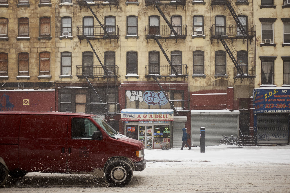 Van in snow, NYC