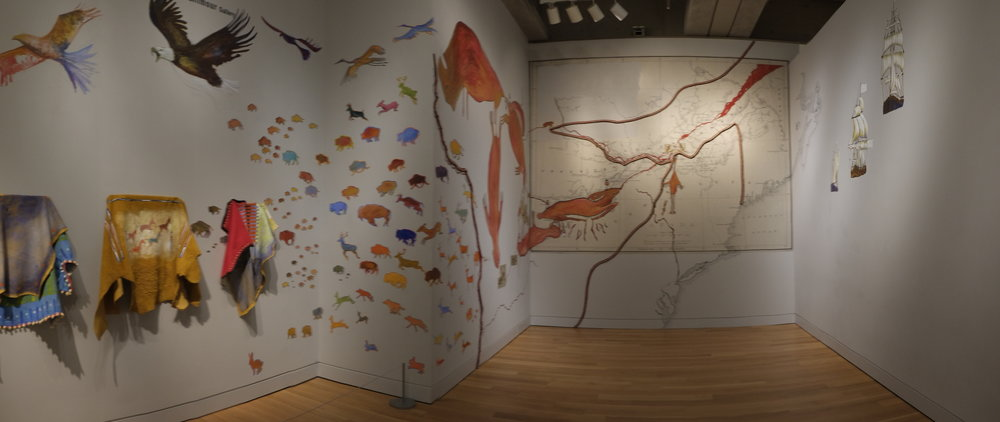 Panorama of Bonnie Devine,  Battle for the Woodlands: Anishinaabitude , 2014–2015
