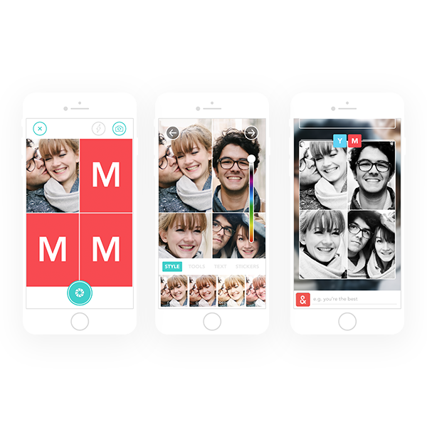 Photo Booth - Couples could also snap a Photo Booth strip, taking four images of themselves within seconds of each other. All images, including Photo Booth strips, could be complemented with filters, stickers or text.