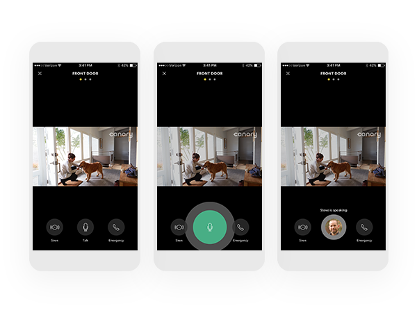Two-Way Talk - One of users' most requested features was to enable two-way audio. We designed an experience that worked like a home intercom and utilized animation, sound and visual cues to communicate what was happening to users on both ends. Read launch announcement