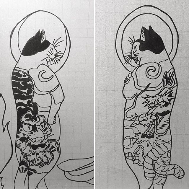 If I was a cat I'd be one of these. #cats #koifishtattoo #yakuza #yakuzatattoo #tattoo #catpaint