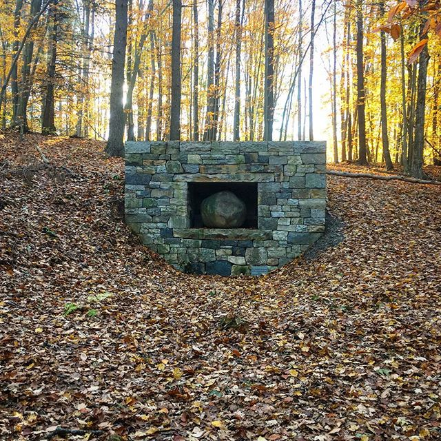 Huge fan of Andy Goldworthy. I heard he had two pieces on the grounds of a retreat center I am staying at. At first I was underwhelmed... but as I backed up from the piece and took it in in context to the landscape it made complete sense. I want to come see it in each season. #andygoldsworthy #sculpture #nature #humanity