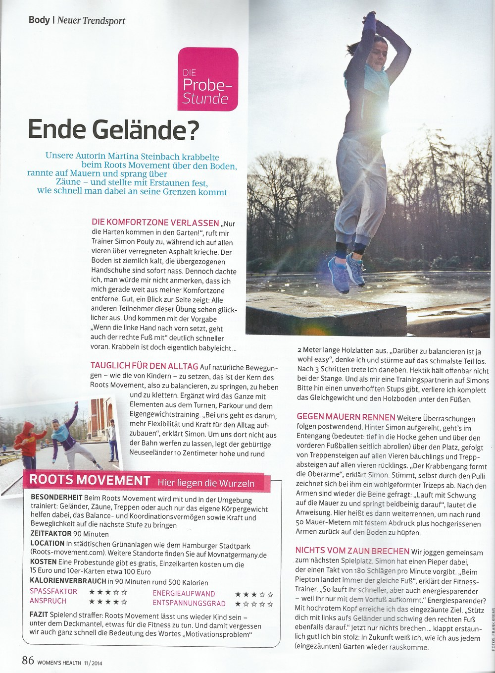 Roots Movement in der Women's Health 11/2014