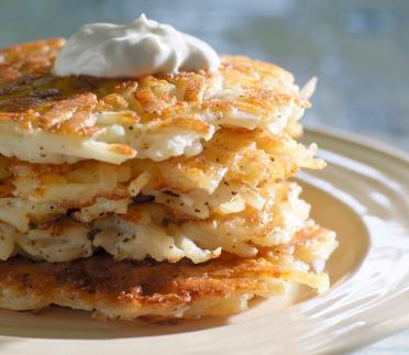 Potato Pancakes, Latkes with Sour Cream