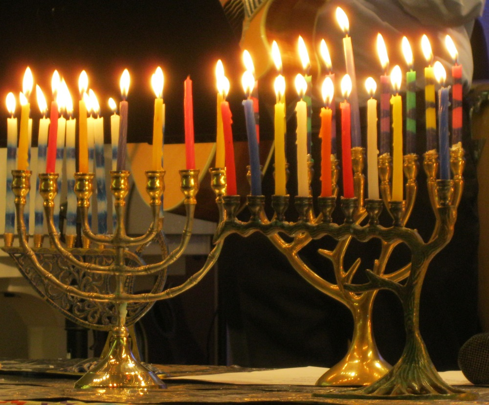 Nine-candle menorahs celebrating Chanukah (Festival of Lights/Feast of Dedication).