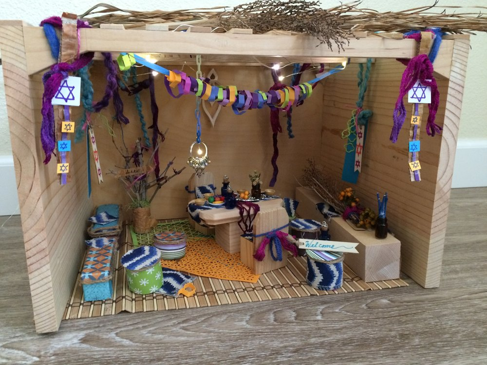 This miniature sukkah was made by Deby's father and decorated by Cindy.