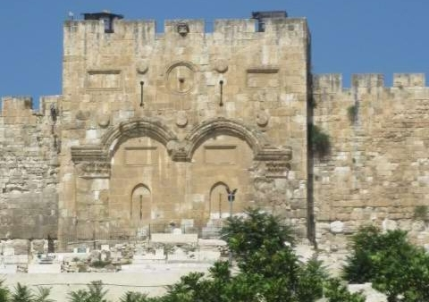 The Eastern Gate, where Jesus will walk through to reach the Temple Mount at His Second coming.