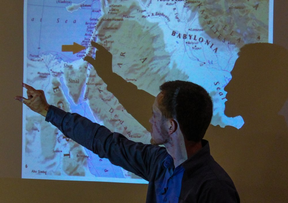 Brandon uses a shadow to indicate the size of Israel.