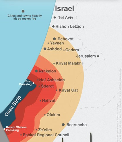 Eshkol is near the bottom of this map. Residents have 7 seconds to find shelter once a siren is heard.