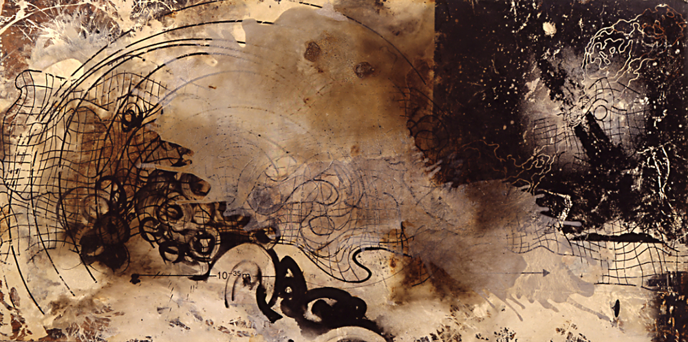 "Frothy Space Time 1992 1992, burned acrylic, ink, mahogany-skin, 48 x 96""  Copyright © Tennyson Woodbridge, 1963 to present.   All appropriation rights reserved"