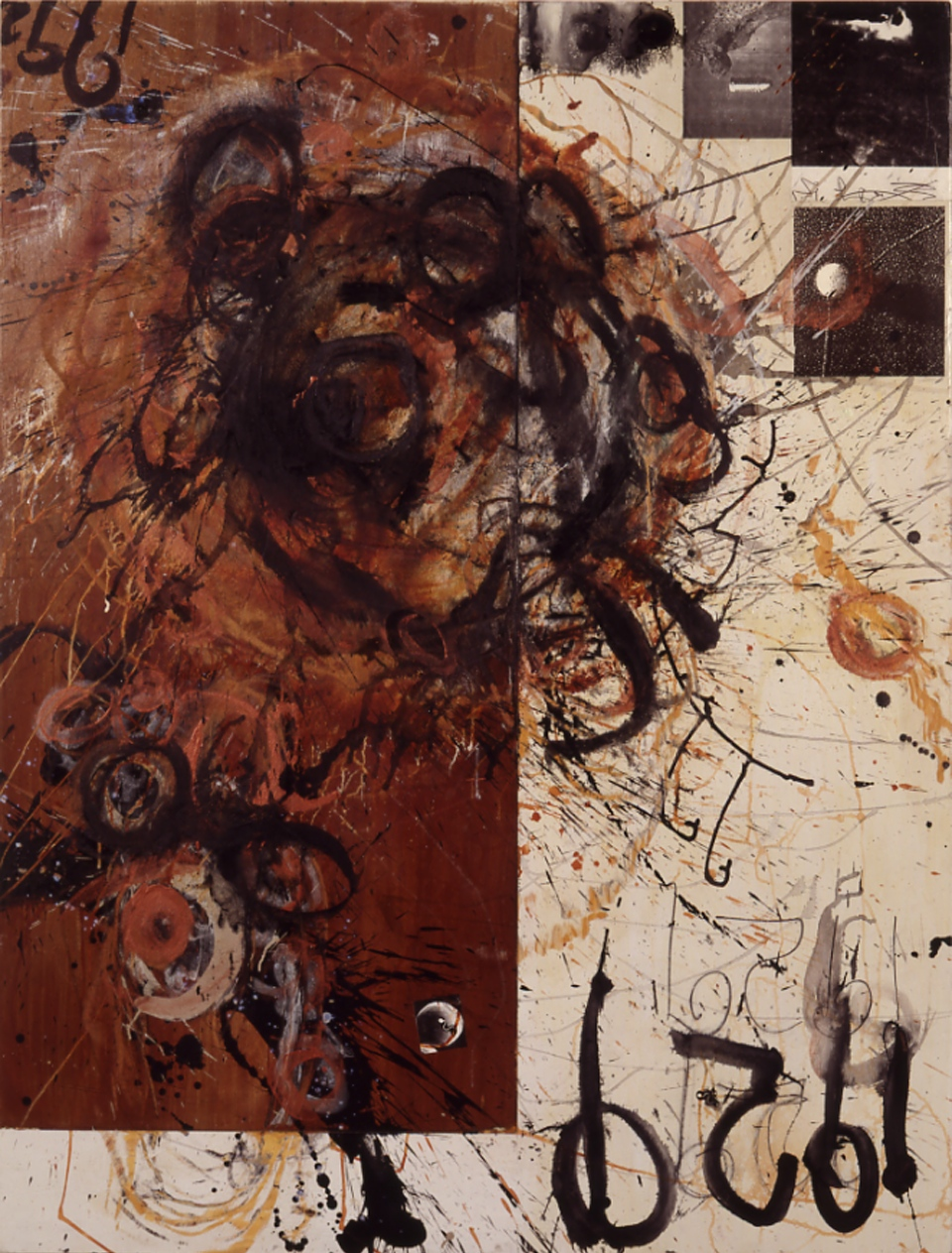 "1929, 1992 1992, acrylic on panel assembly w collage, ~60 x 48""  Copyright © Tennyson Woodbridge, 1963 to present"