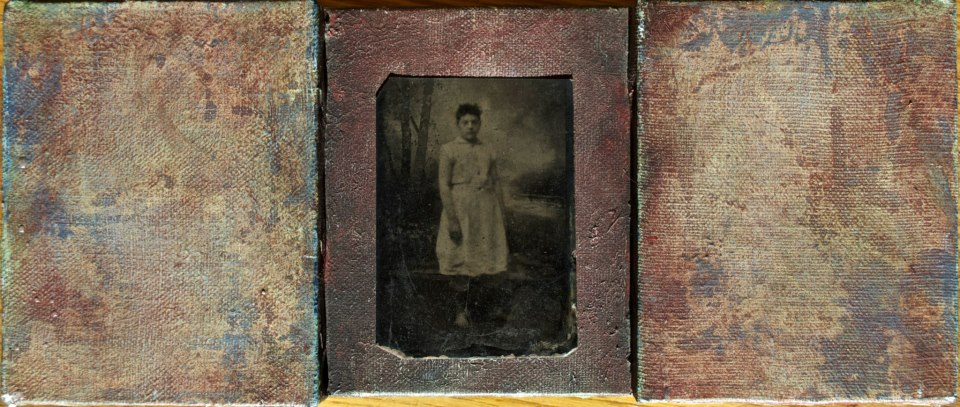 "Untitled 1986-89  1986 to 1989, o il on three beveled canvases, tintype; 5x12""  Copyright © Tennyson Woodbridge, 1963 to present"