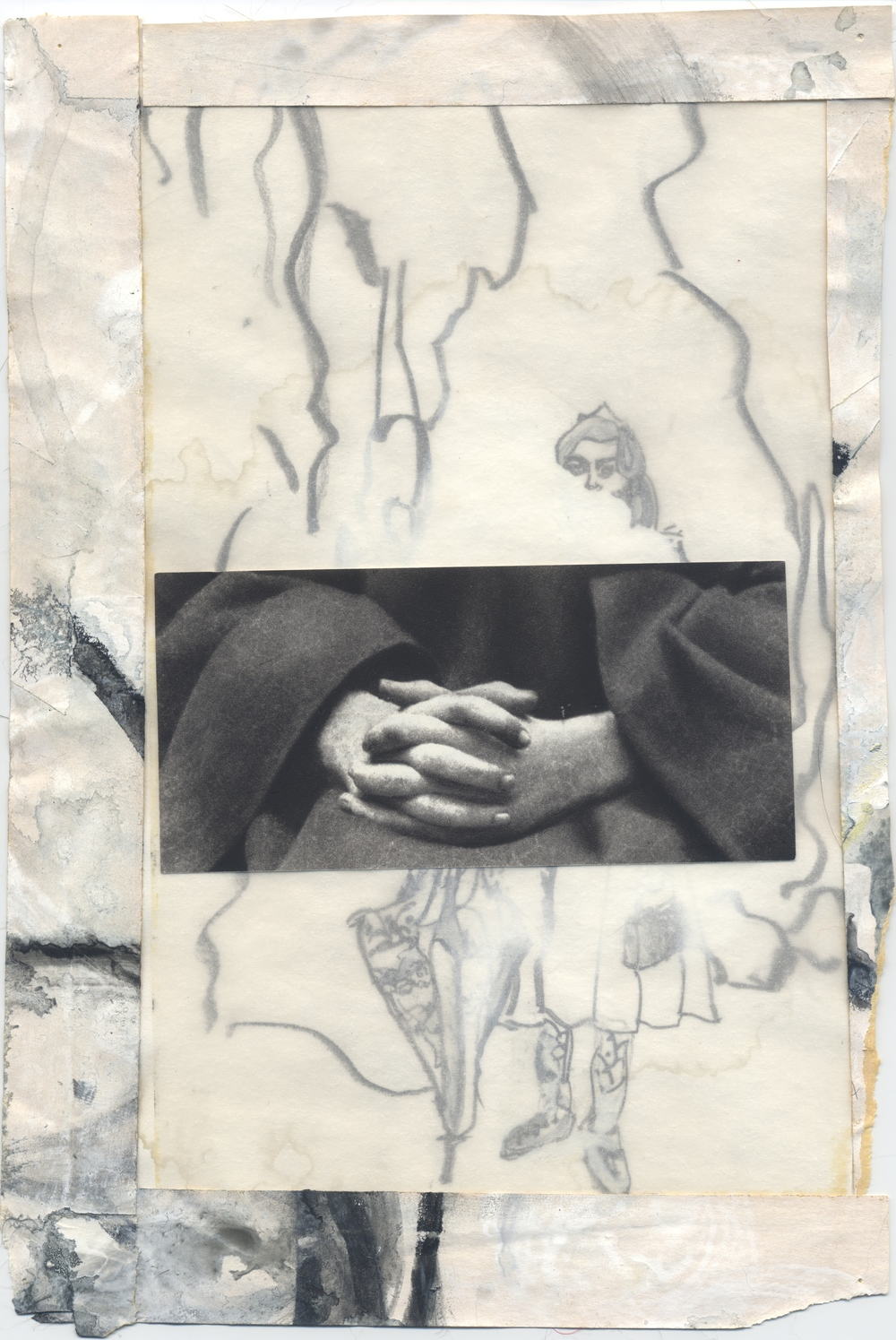 "Untitled 2005-2008 Graphite, w/c, acrylic, vellum, archival tape, paper, 9-3/4 x 6-1/2""  Copyright © Tennyson Woodbridge, 1963 to present"