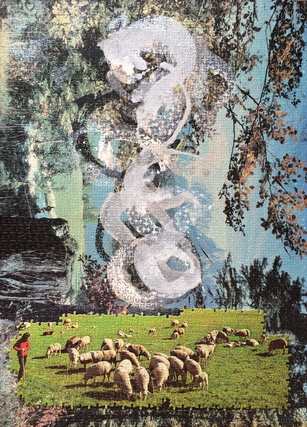 Untitled with Sheep 2007-2011, acrylic and jigsaw collage on jigsaw panel, 93x68 cm  Copyright © Tennyson Woodbridge, 1963 to present.   All appropriation rights reserved