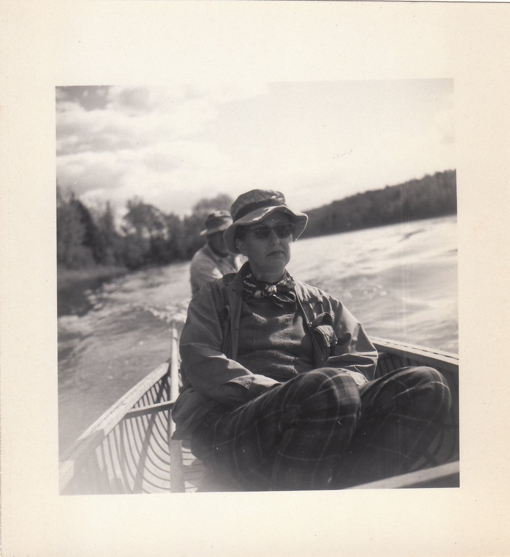 Libby Corzine in 1947. Author,  Men and their Mountains  and  The Madness of Machines.   Saginaw_3, February 2015, found photo,  2.75 x 3""