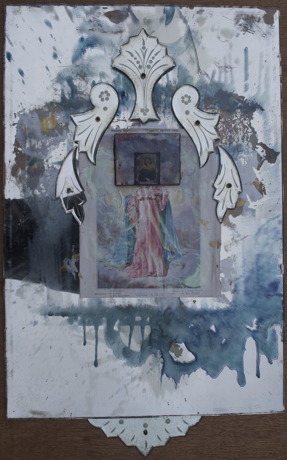 Venez a Moi (Our Lady of Immeasurable Likeness)   Avril 2015; a  crylic, acrylic on canvas, tin type, glass, collage on antique mirror; 91 x 55.5 cm   Copyright © Tennyson Woodbridge, 1963 to present