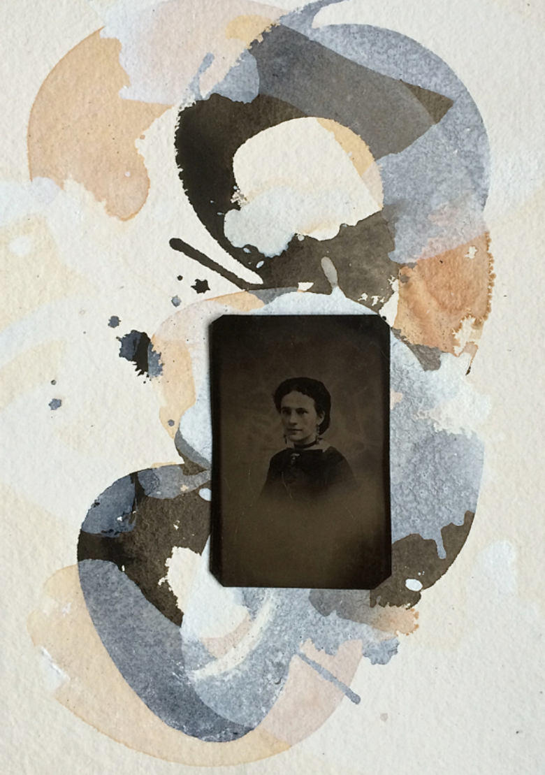"Maggie ""Come Quick"" Sullivan, 1892   2011-14,   w/c, tintype, paper   Copyright © Tennyson Woodbridge, 1963 to present  .   All appropriation rights reserved"