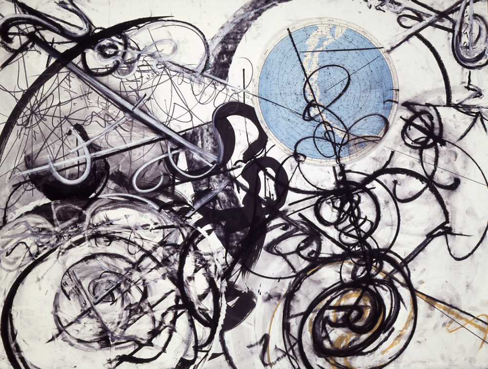 "Frothy Space Time 1991 Charcoal, ink, graphite, conti, collage, paper, ~44 x 60""  Copyright © Tennyson Woodbridge, 1963 to present"