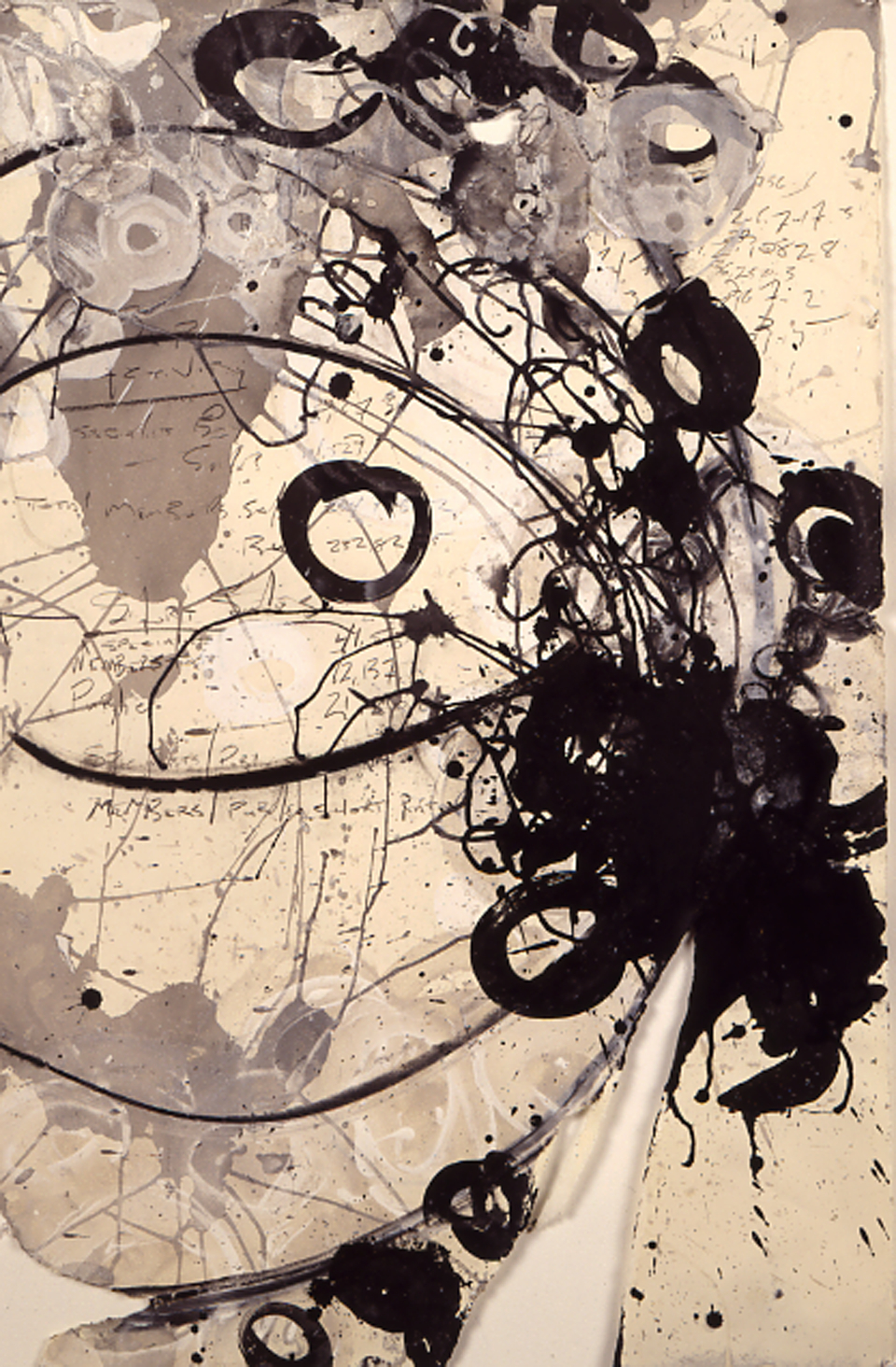 "Members to Public Short Ratio   1992, acrylic, ink, w/c, graphite, paper , ~48 x 28""  Copyright © Tennyson Woodbridge, 1963 to present"
