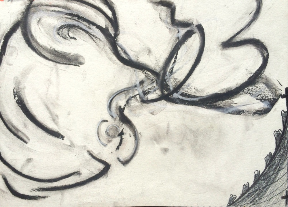 "Pontlevoy (in a westerly direction)  October, 1990, charcoal, graphite, pastel on paper; 8 x 9-3/4""   Copyright © Tennyson Woodbridge, 1963 to present"