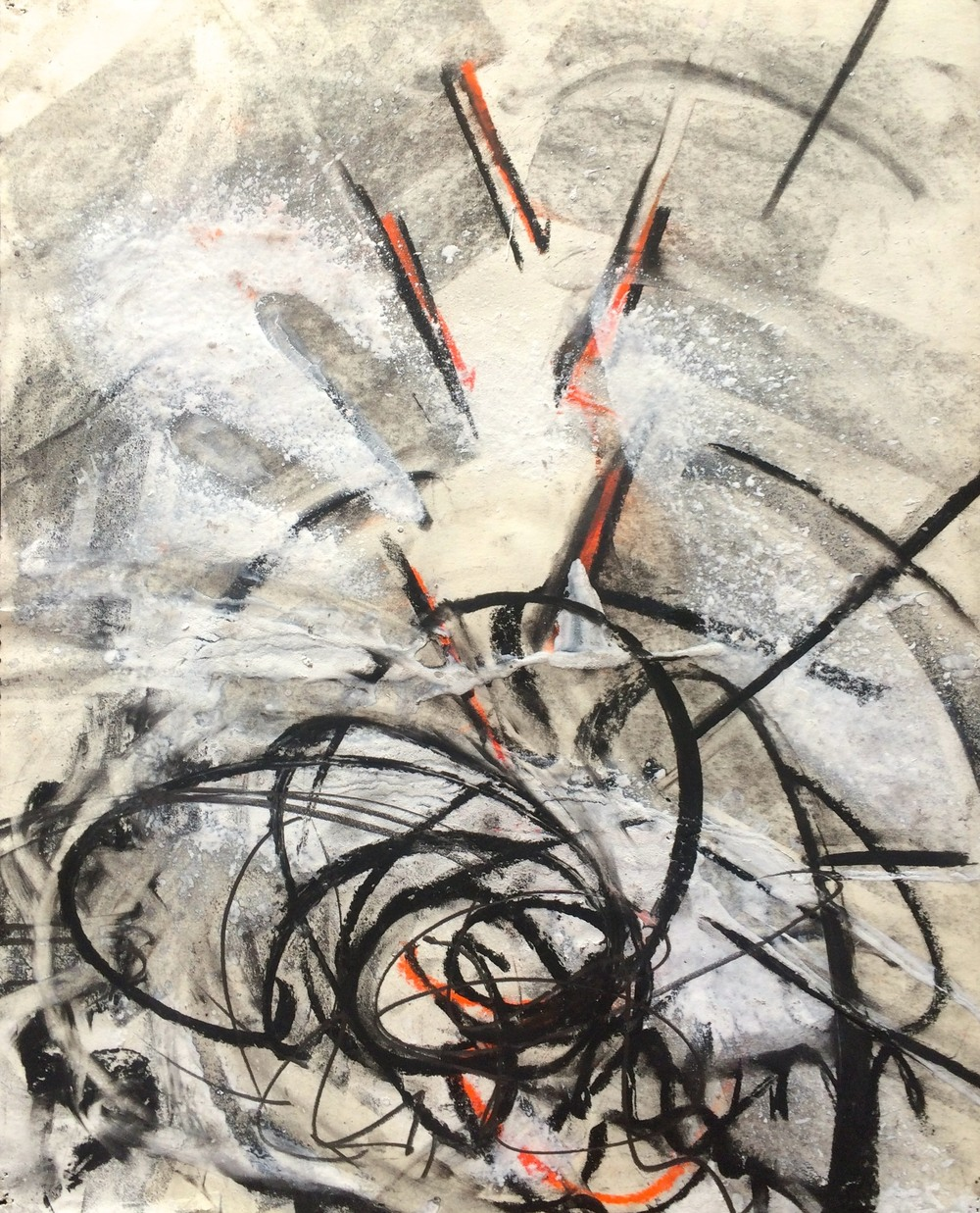 "Untitled 1990 1990; charcoal, acrylic, graphite, conte on paper; 17 x 13 3/4"" Copyright © Tennyson Woodbridge, 1963 to present; Collection Beki Coagan/Damon Scharlatt"