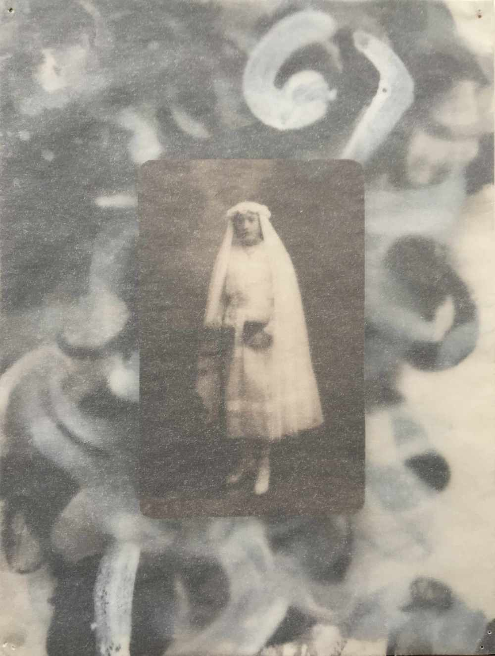 Bride of Jesus (for Emmy Scharlatt)   2008, w/c on paper w found photo, vellum; 24 x 18 cm   Copyright © Tennyson Woodbridge, 1963 to present. All appropriation rights reserved