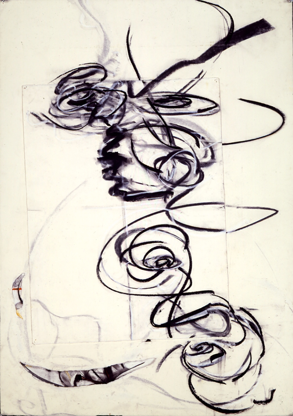 "Untitled 1990_1 Charcoal, conti, assembled paper, ~56 x 32""  Copyright © Tennyson Woodbridge, 1963 to present"