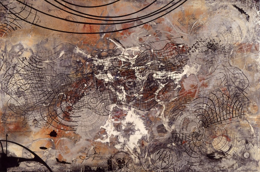 "Frothy Space Time 1991, acrylic, ink, canvas, i, ~32 x 56""  Copyright © Tennyson Woodbridge, 1963 to present"