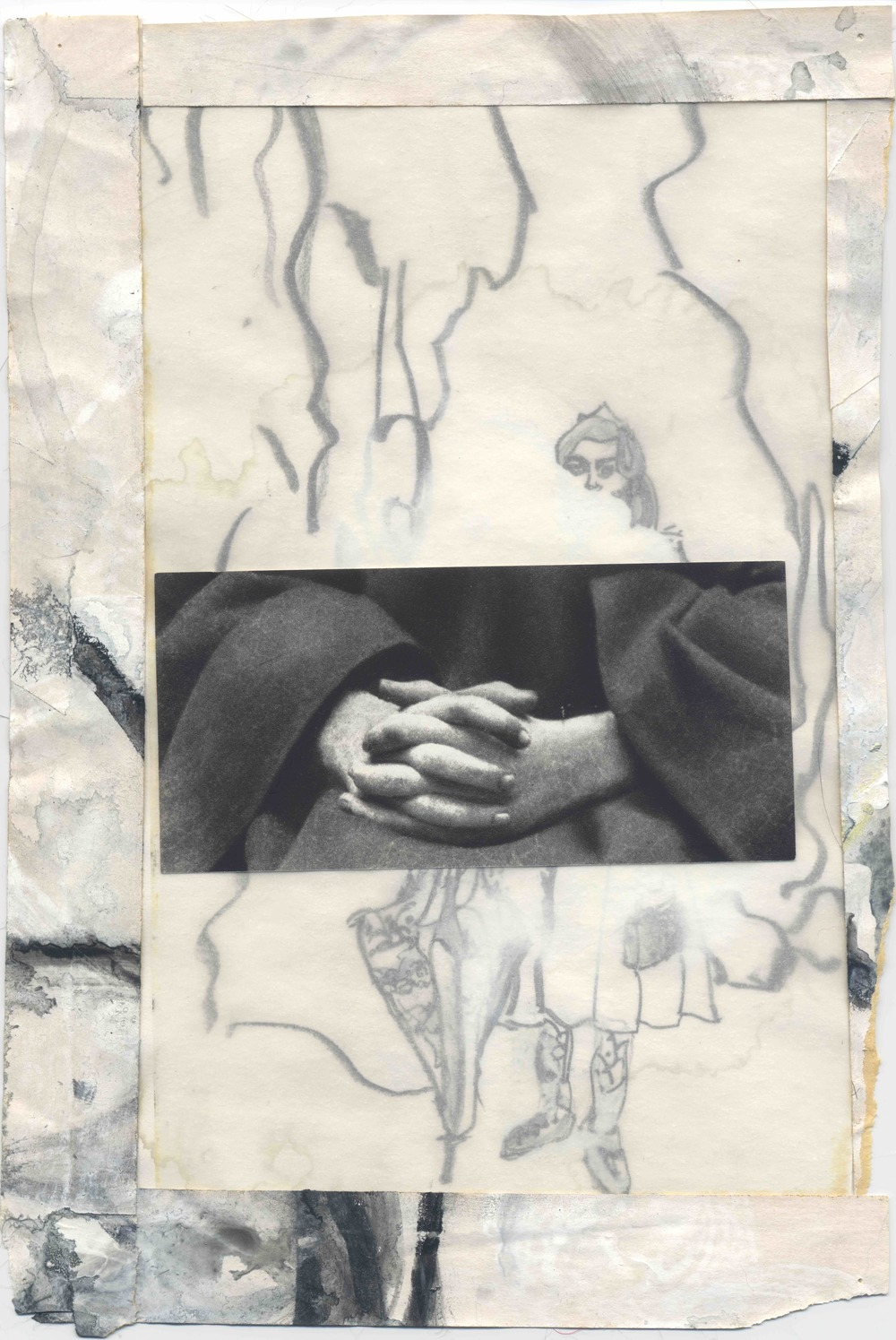 "Untitled (Digna), 2005-2008 Graphite, w/c, acrylic, vellum, archival tape, paper, 9.75 x 6.5"" Copyright © Tennyson Woodbridge, 1963 to present;  Collection Eli Davey"