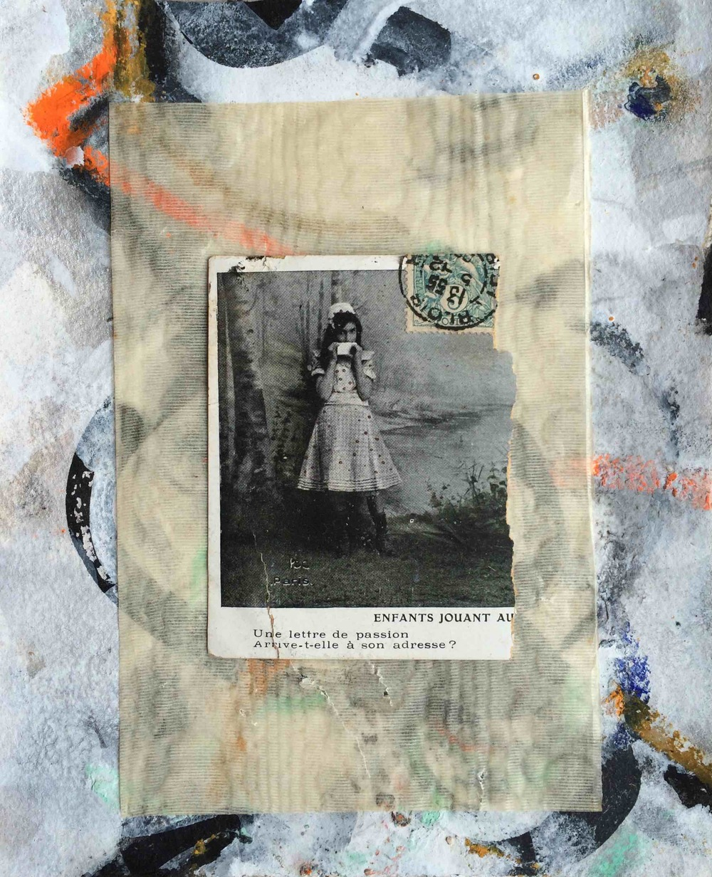 A letter of passion 2005; charcoal, pastel, acrylic, old vellum and found photocard on paper Copyright © Tennyson Woodbridge, 1963 to present; Collection Emmy Scharlatt