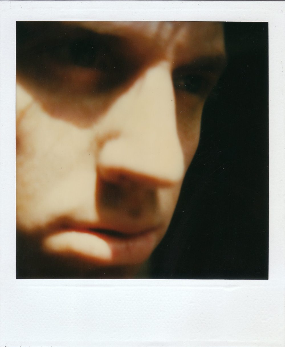 "Self Polaroid, 2May1987; Polaroid photograph;  4-1/4 x 3-1/2""  collection Sharon Davey  Copyright © Tennyson Woodbridge, 1963 to present"
