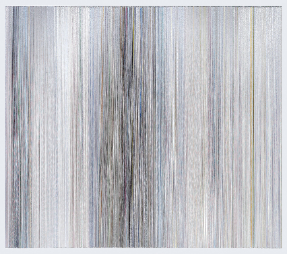 thread drawing 25  2013 rayon thread 58 by 51 inches Collection of Daum Museum of Contemporary Art
