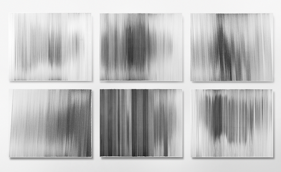 motion drawings 01 - 06  2009 graphite on cotton board 28 by 34 inches each