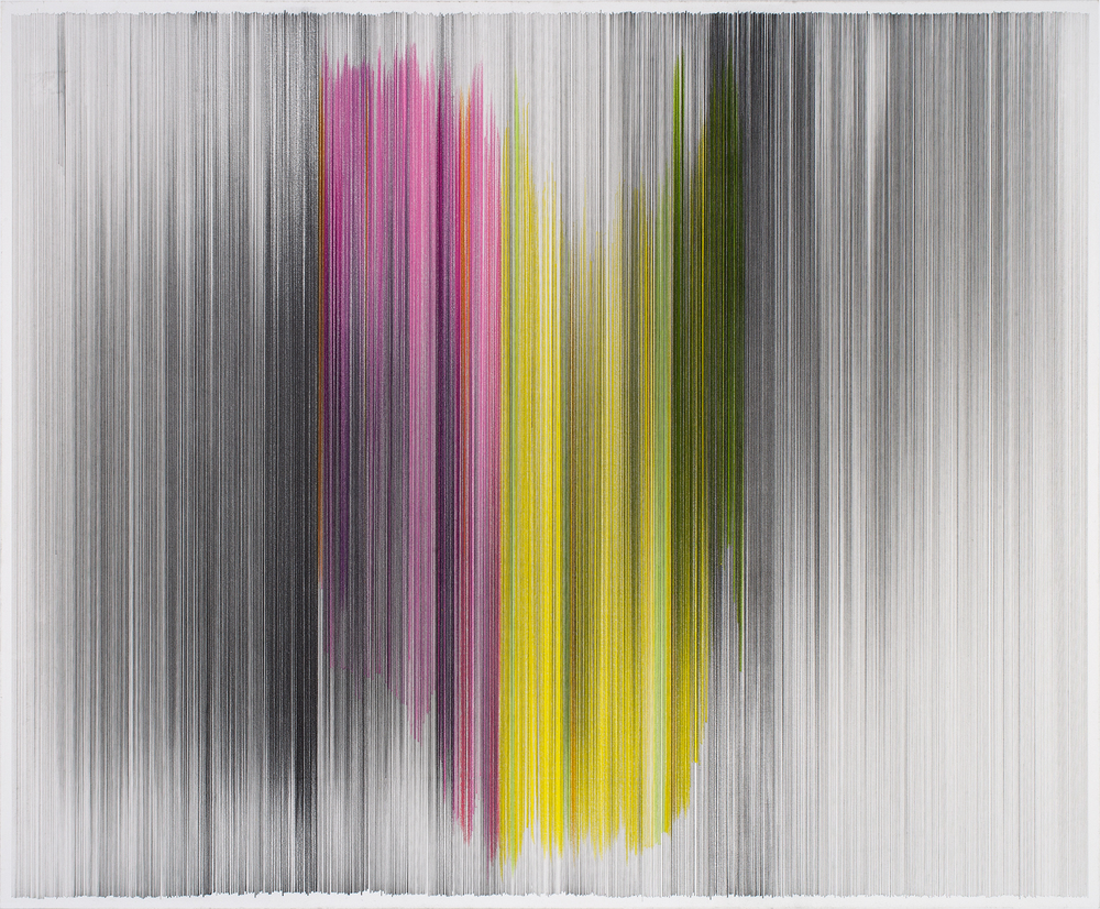 motion drawing 19  2013 graphite & colored pencil on mat board 34 by 28 inches